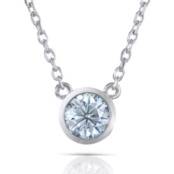 Slight Blue Moissanite Stone Necklace Platinum Plated Silver 1ct