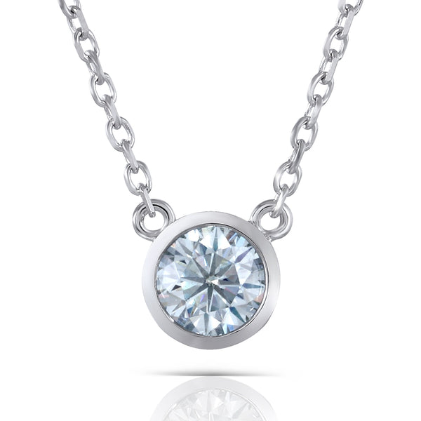 Slight Blue Moissanite Stone Necklace Platinum Plated Silver 1 Carat