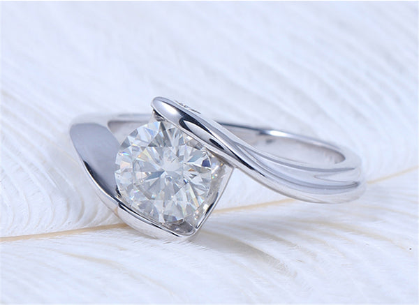 14k White Gold Unique Moissanite Ring 1.2ct
