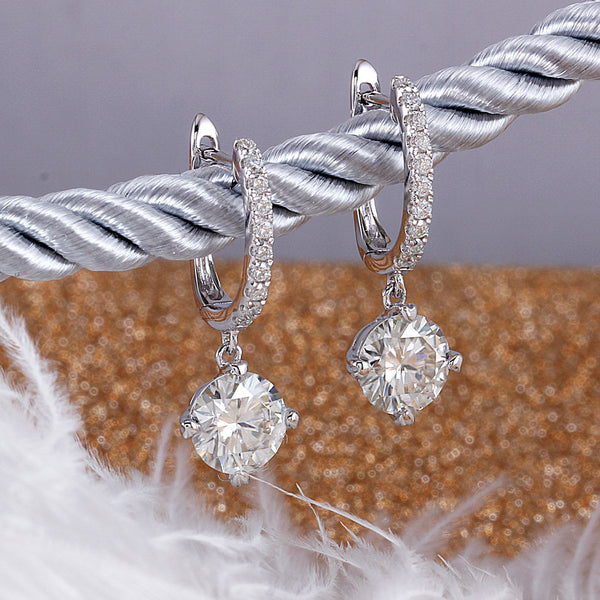 14k White Gold & Platinum Plated Silver Moissanite Earrings 2.12ctw