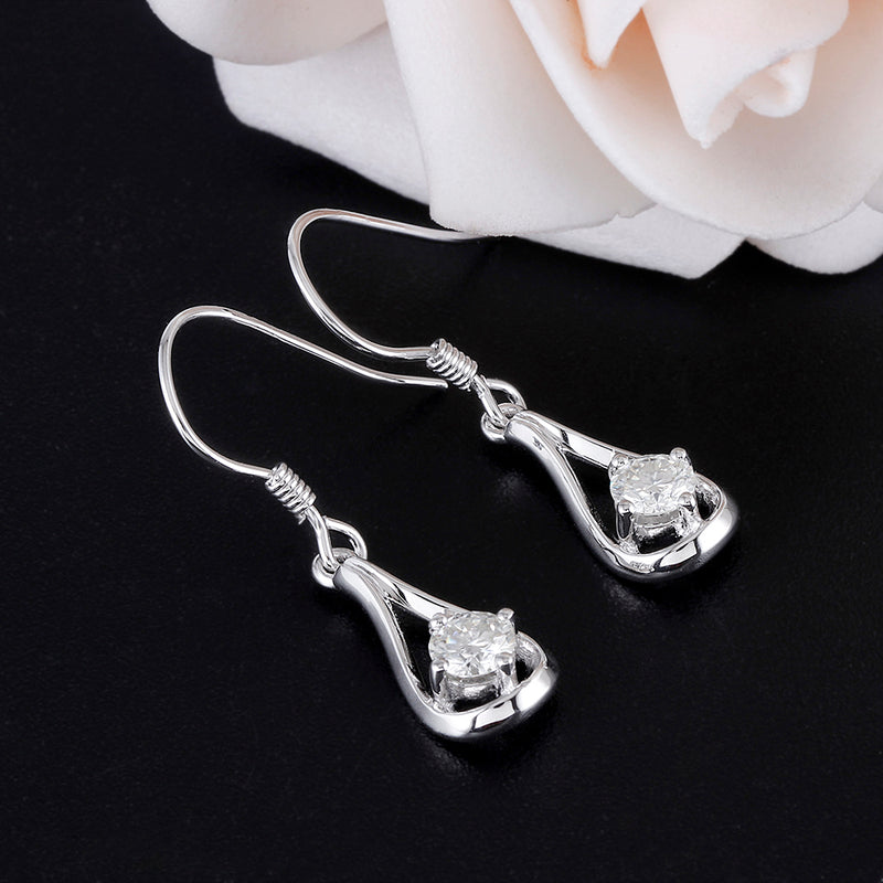 Drop / Dangle Moissanite Earrings Platinum Plated Silver 0.5ctw
