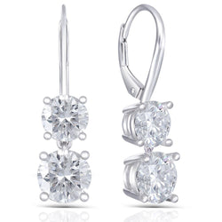 Platinum Plated Silver Drop Moissanite Earrings 2.1ctw