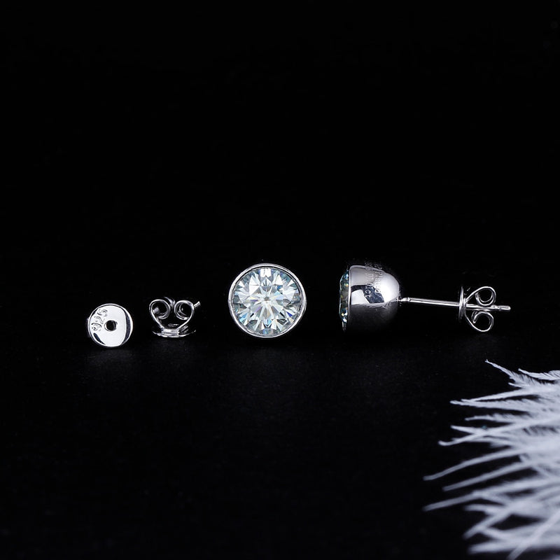 14k White Gold & Silver Slight Blue Moissanite Stud Earrings 2ctw