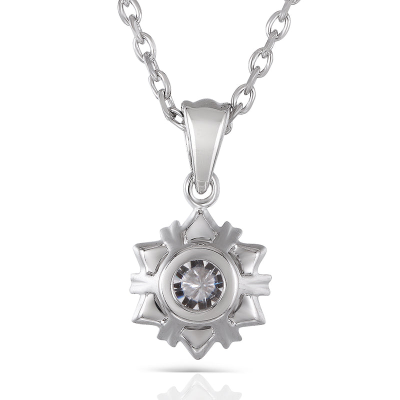 Moissanite Necklace Platinum Plated Silver 1 Carat Total