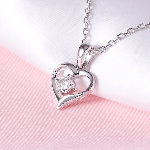 Moissanite Heart Necklace Platinum Plated Silver 0.25 Carat