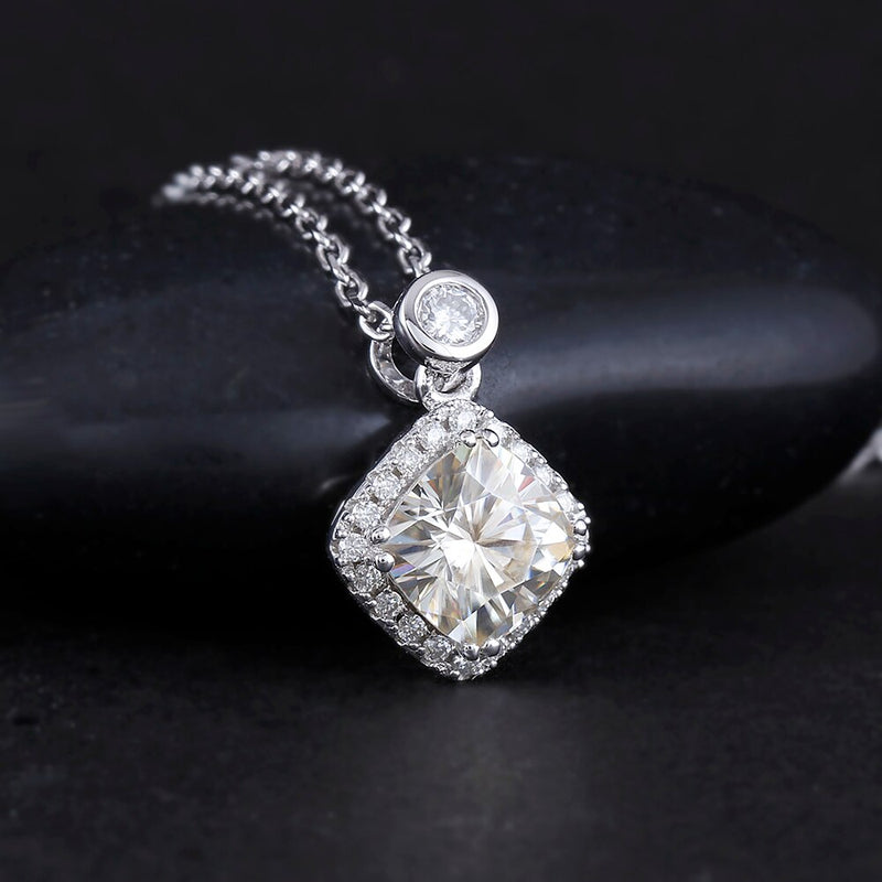 Platinum Plated Silver Moissanite Halo Necklace / Pendant Slight Gold Shaded Moissanite 2ct Total