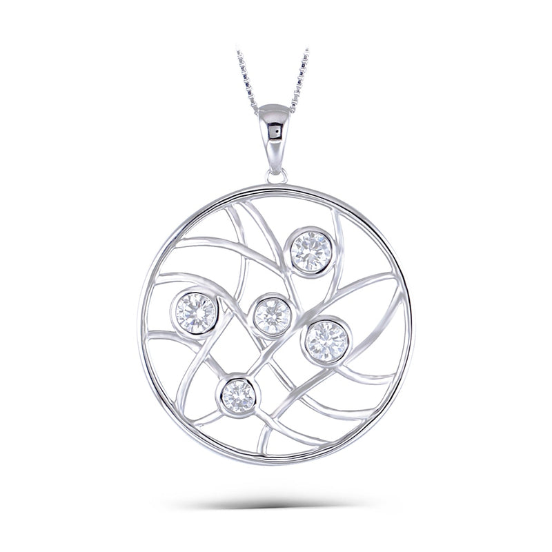 Platinum Plated Silver Circle 5 Stone Moissanite Necklace