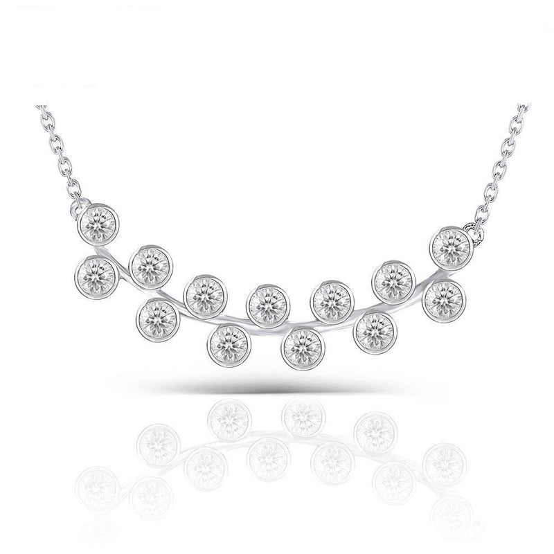 Moissanite Necklace Platinum Plated Silver 0.4ct Total