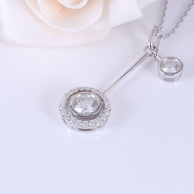 Platinum Plated Silver Moissanite Necklace 1ct Main Stone 0.5ct Secondary Stone