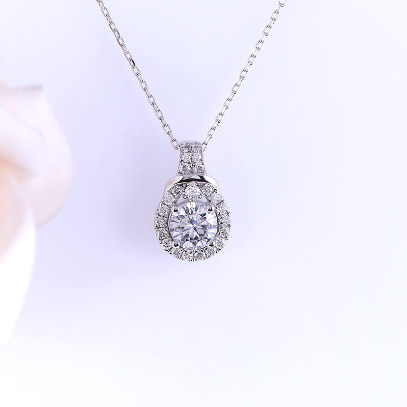 Platinum Plated Silver Moissanite Necklace / Pendant 1.19ct
