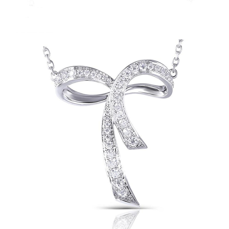 Moissanite Bow Necklace Platinum Plated Silver