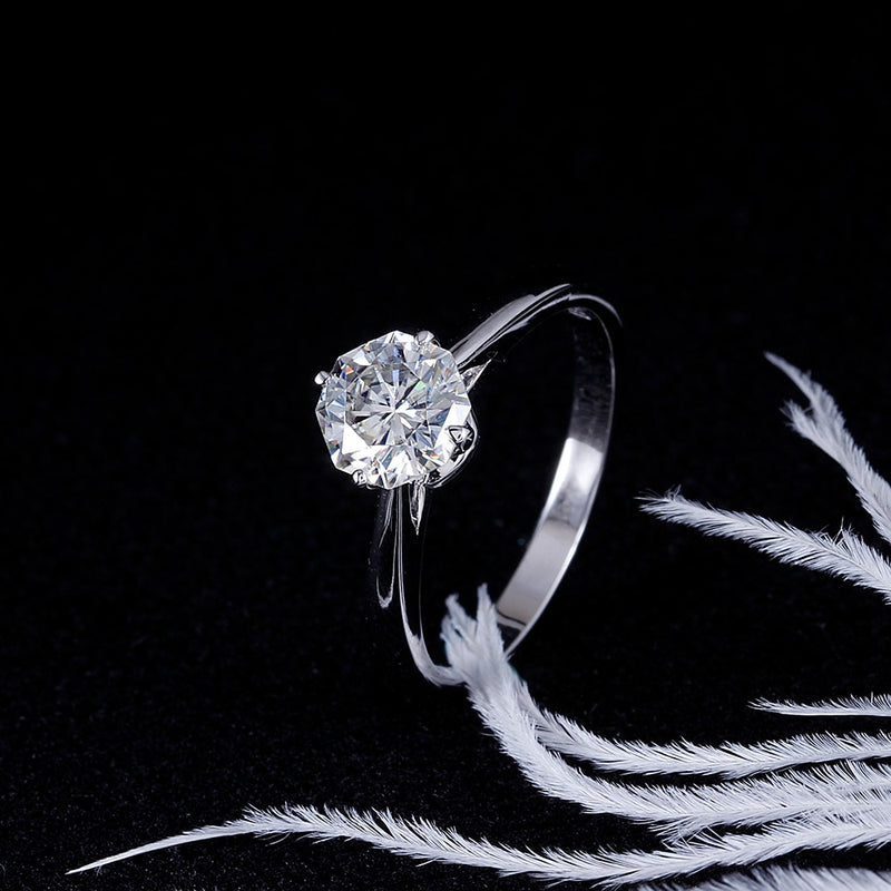 14k White Gold Octagon Cut Solitaire Moissanite Ring 1ct