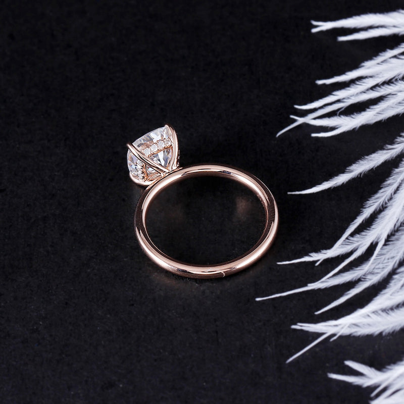 14k Rose Gold Hidden Halo Cushion Cut Moissanite Ring 1.5ct