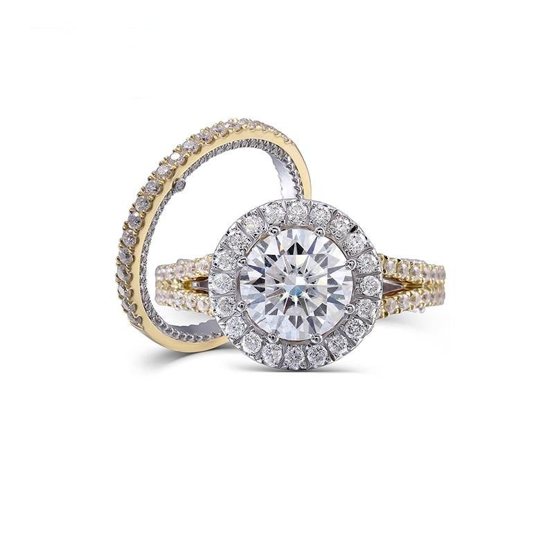 14k White & Yellow Gold Moissanite Wedding Set (Rings Can Be Bought Separately)