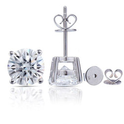 14k White Gold Stud Moissanite Earrings 2.4ctw