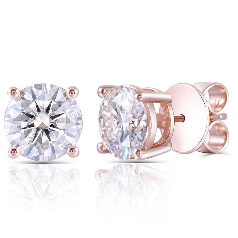 14k Rose / White / Yellow Gold 4ct Total Moissanite Stud Earrings