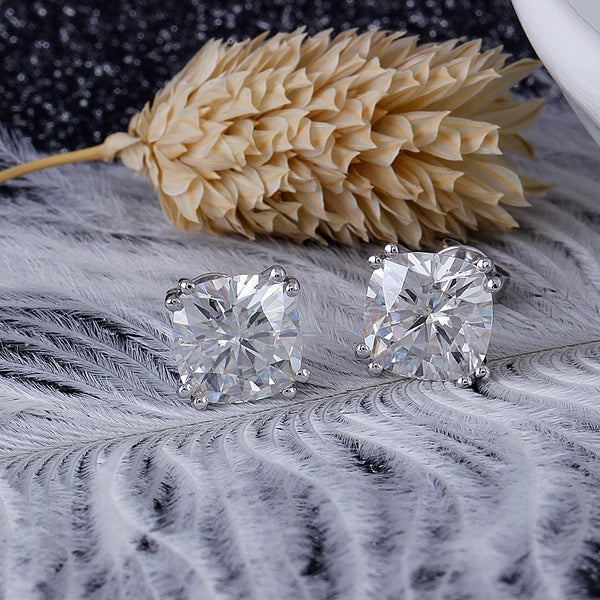 14k White Gold Cushion Cut Moissanite Stud Earrings 4ctw