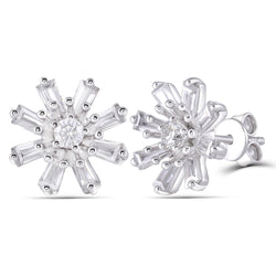 Platinum Plated Silver Emerald Cut Moissanite Earrings 2ctw