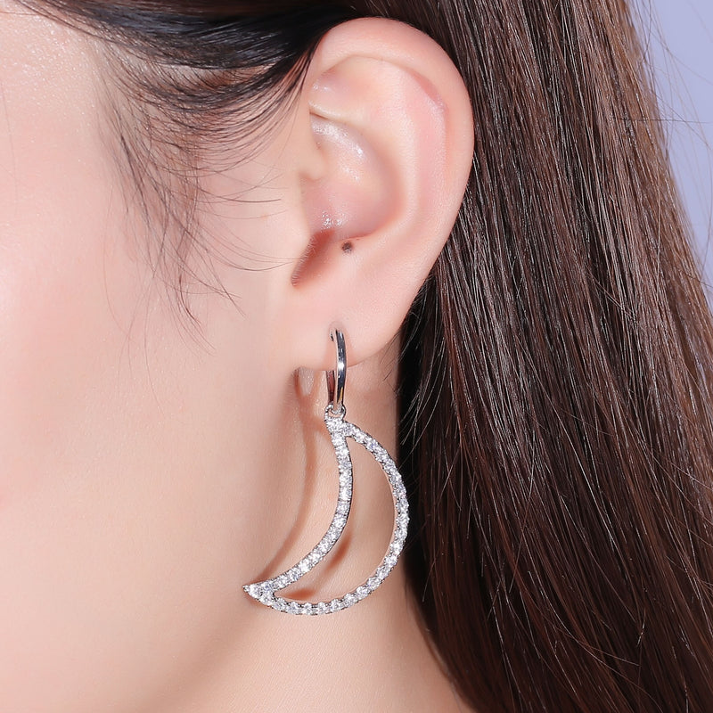 Platinum Plated Silver Moon Shaped Moissanite Earrings 2.6ctw