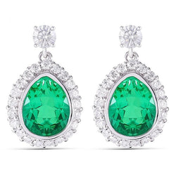 Platinum Plated Silver Emerald Pear With Moissanite Accents Earrings