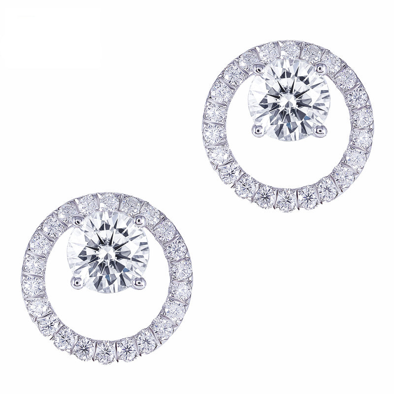 Platinum Plated Silver Moissanite Stud Earrings 1.6ctw