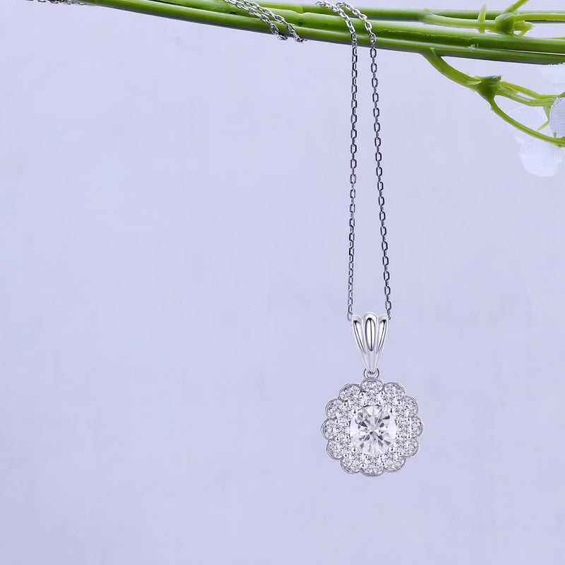 10k White Gold Halo Moissanite Necklace / Pendant 2ctw