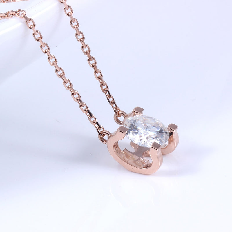 14k Rose Gold Moissanite Necklace 1 Carat