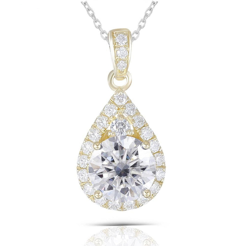 10k Yellow Gold Moissanite Necklace / Pendant 1.25ct Total