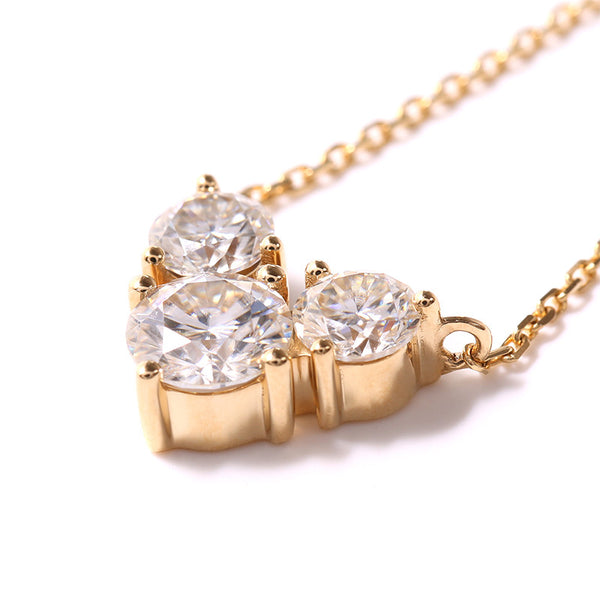 14k Yellow Gold 3 Stone Moissanite Necklace 2.02ctw