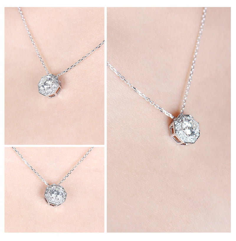 18k White Gold Moissanite Necklace 1ct Center Octagon Stone