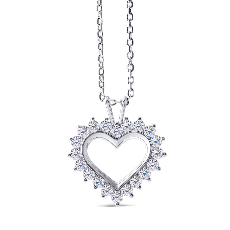14k White Gold Moissanite Heart Necklace / Pendant 1.3 CTW