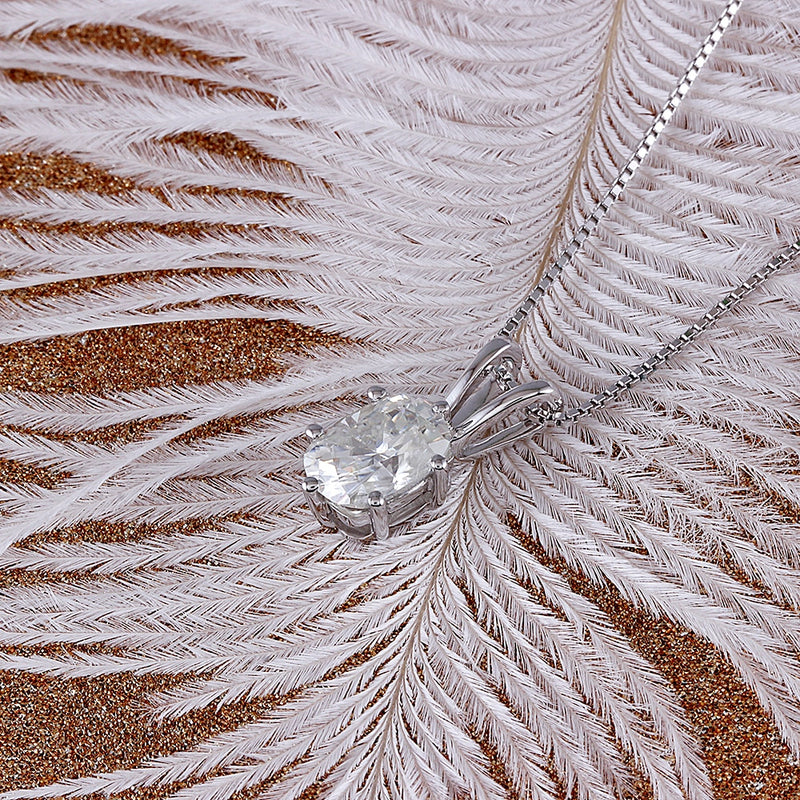 14k White Gold Moissanite Oval Necklace / Pendant