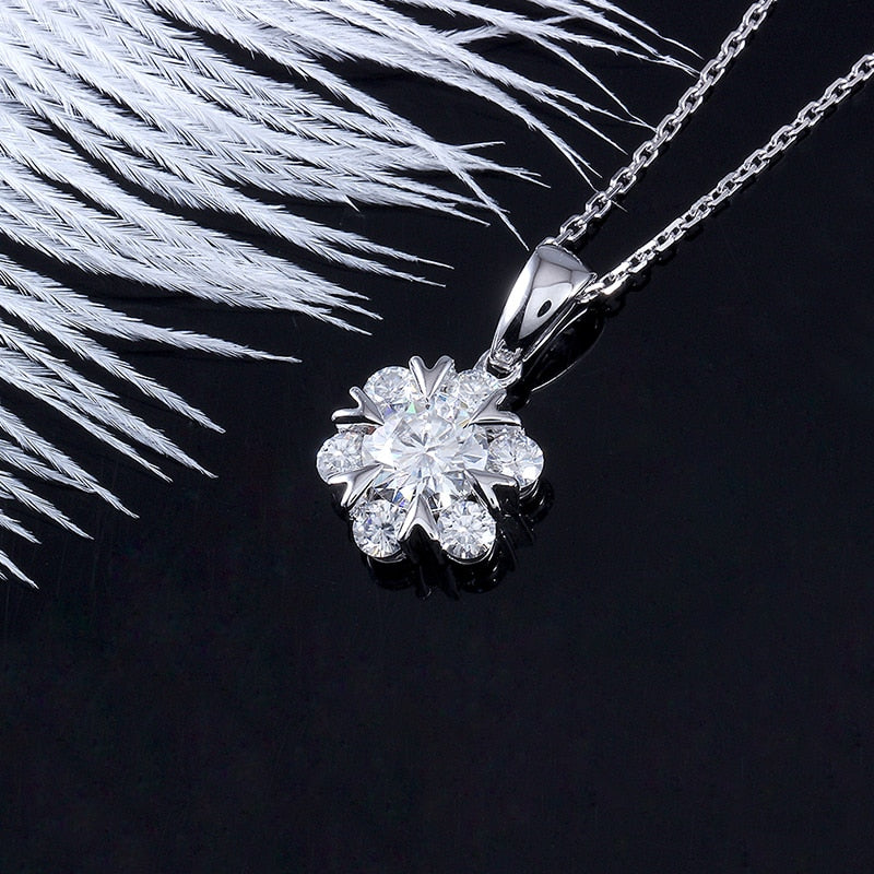 18k White Gold Moissanite Necklace 1.6 Carat Total