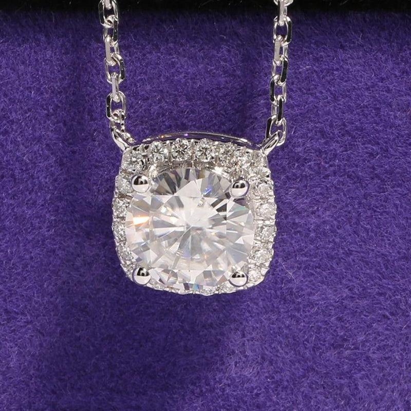 18k White Gold Moissanite Halo Necklace 1ct Center Stone