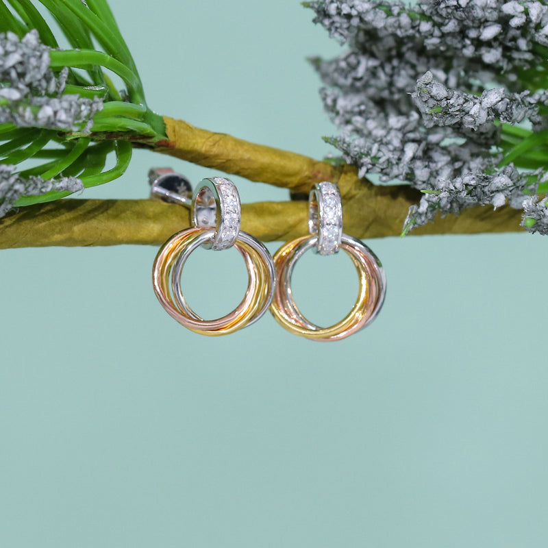 14k White, Rose, & Yellow Gold Moissanite Earrings 0.16ctw