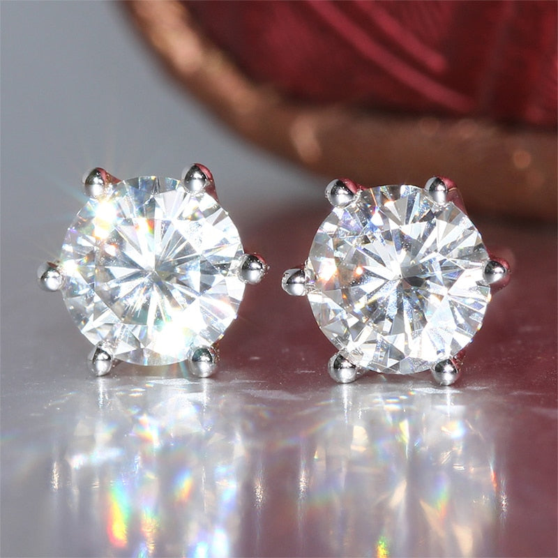 14k White Gold Stud Moissanite Earrings 1ctw