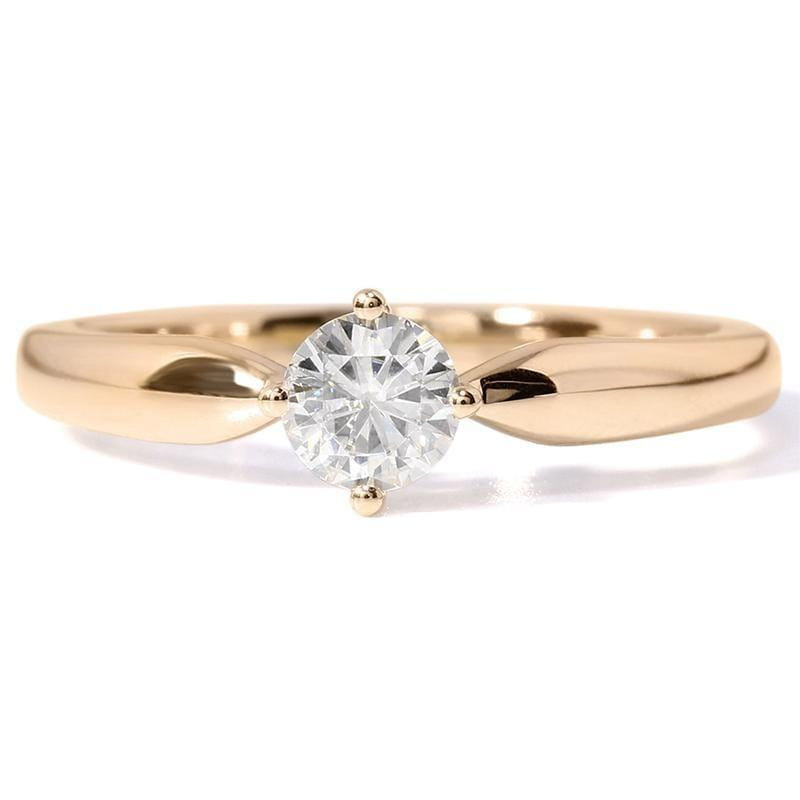 14k Yellow Gold Solitaire Moissanite Ring 0.5ct - Moissanite Engagement Rings & Jewelry | Luxus Moissanite
