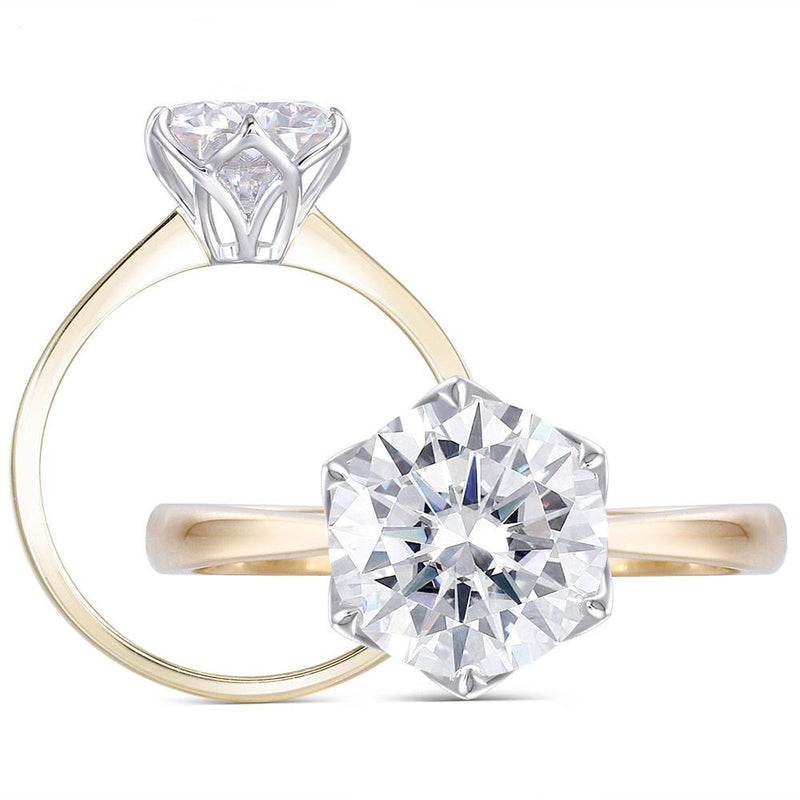 14k Yellow / White Gold Solitaire Moissanite Ring 2ct