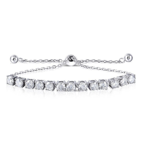 Platinum Plated Silver Moissanite Bracelet 3.25 Carat Total - Moissanite Engagement Rings & Jewelry | Luxus Moissanite