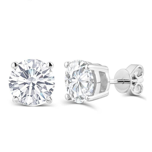 10k White Gold & Silver Stud Moissanite Earrings 1ctw - 2.6ctw Options - Moissanite Engagement Rings & Jewelry | Luxus Moissanite
