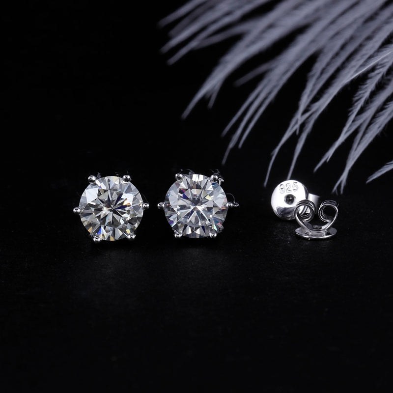 14k White Gold & Platinum Plated Silver Flower Stud Moissanite Earrings 2ctw