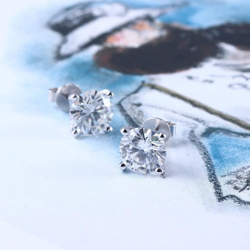 14k White Gold Stud Moissanite Earrings 1.3ctw - 2.6ctw Options