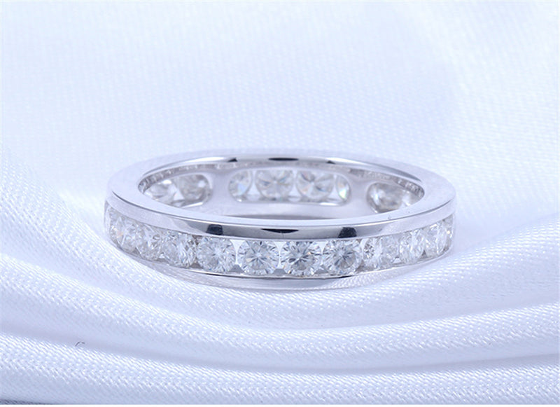 14k White Gold Moissanite Eternity Ring 1.6ct Total