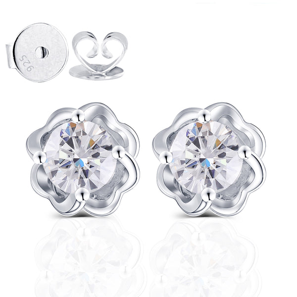 Moissanite Earrings Platium Plated Silver 1 Carat Total