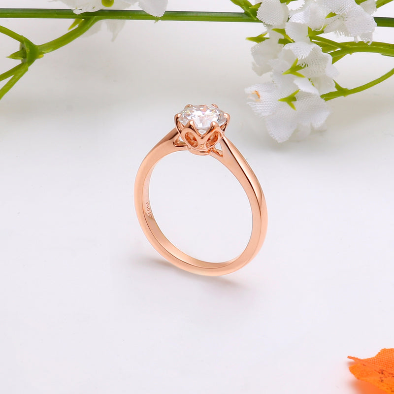 10k Rose Gold Solitaire Moissanite Ring 1ct