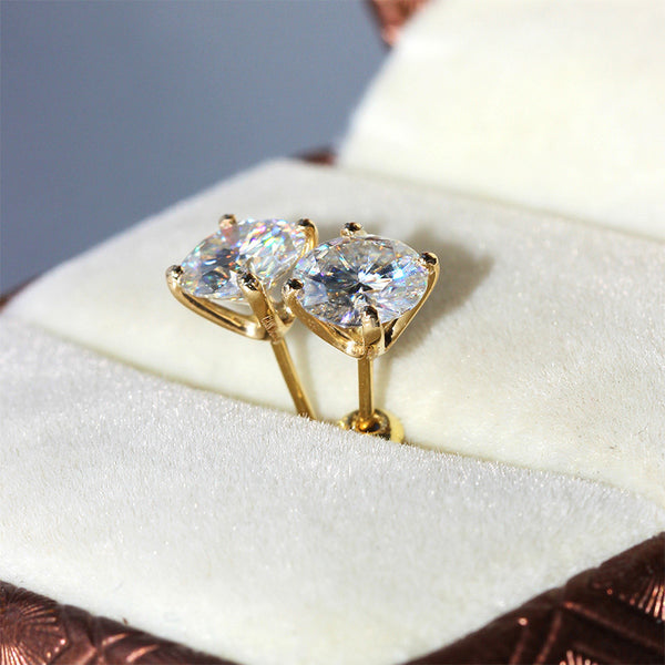 14k Yellow Gold Moissanite Stud Earrings 1ctw - 2.4ctw Options