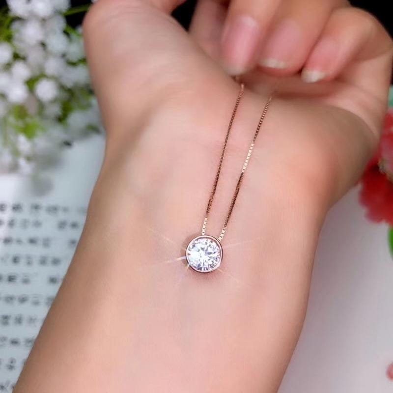 White / Rose Gold Plated 925 Silver Moissanite Necklace 1.2ct - Moissanite Engagement Rings & Jewelry | Luxus Moissanite