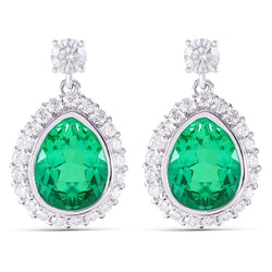 Platinum Plated Silver Emerald Halo Moissanite Earrings