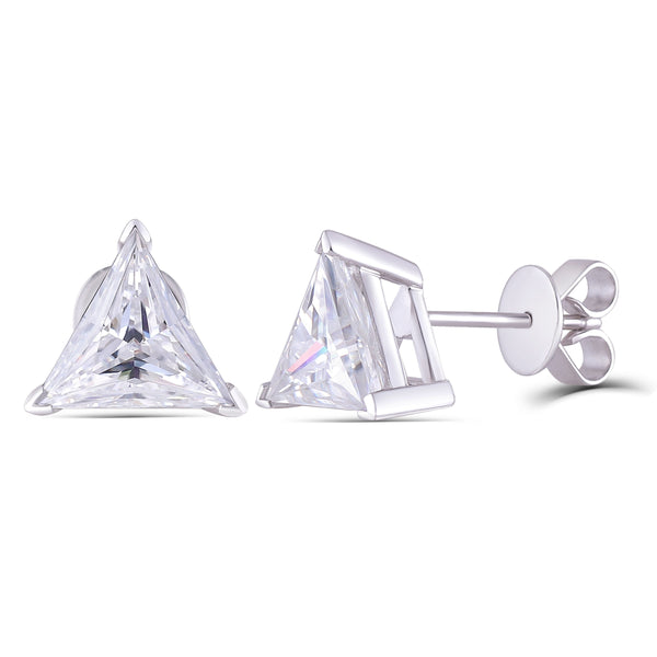 14k White Gold Moissanite Triangle Cut Stud Earrings 3.2ct Total - Moissanite Engagement Rings & Jewelry | Luxus Moissanite