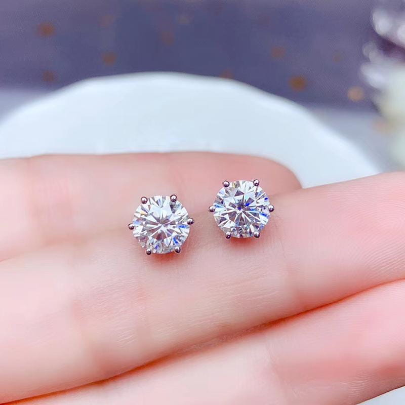Stud Moissanite Earrings Platinum Plated Silver 2 Carat Total - Moissanite Engagement Rings & Jewelry | Luxus Moissanite